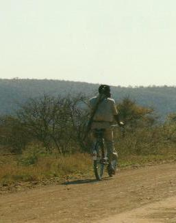A cyclist in Kruger Park!